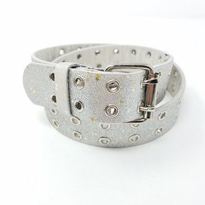 belt silver leather grommet double prong